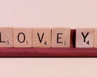 I Love You Scrabble tiles on tray