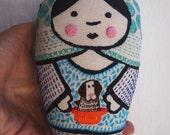Ramona - mixed media printed, and embroidered matryoska handmade cloth doll with dog