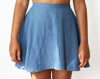 High Waist Denim Skater Skirt (3 COLORS, Made to Order)