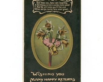 Vintage Edwardian Postcard Wishing You Many Happy Returns Flowers by H. Vertigen & Co.