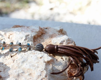 Crocheted Tassel Necklace, Slate Blue Necklace, Brown Tassel Necklace, BohoTassel Necklace, Bohemian Necklace, Long Layering Necklace