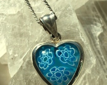 Blue Vintage Millefiori Glass Heart - Set in Sterling Silver - Pendant/Necklace With Vintage Sterling Chain