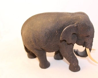 Wooden Elephant Figurine - Carved Elephant - Handmade Wood Elephant Statue - Sculpture - Home Decor - Feng Shui