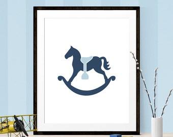 Navy & Baby Blue Rocking Horse Print, Nursery Print, Printable Art, Rocking Horse, Rocking Horse Art, Rocking Horse Print, Nursery Printable