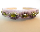 Rhinestone and beads embroidered hairband, precious silk hair accessory, mauve and green