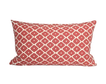 11x15 Ziggurat Ruby LUMBAR designer pillow cover - Schumacher - red coral - Made to Order