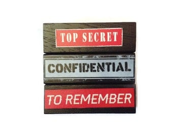 Top Secret | CONFIDENTIAL |  To Remember | Fridge Magnets | BLACK | Retro | Home Decor | Office Magnets | Recycled Gift |