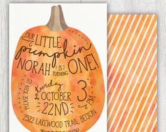 Printable Our Little Pumpkin birthday invitation - Fall Autumn birthday party - Watercolor - First Birthday - Halloween party - Customizable
