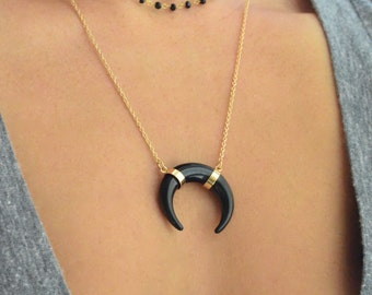 FLASH SALE 20% OFF! Black Crescent necklace