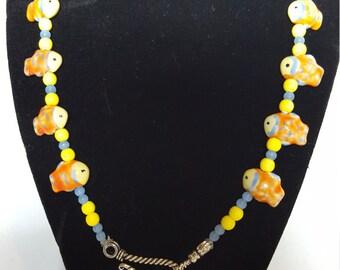 Orange Fish Strung Necklace