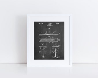 Magnetic Boot Snowboard Patent Poster, Ski Lodge Decor, Mountain Home Decor, Winter Art, Snow Ski, Winter Wall Art, PP0358