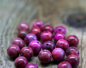 Hot Pink Crazy Lace Agate Beads - Center Drilled - Fuschia, Pink - 10mm Round - Center Drilled - 10 Beads