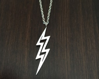 silver lightning bolt necklace, lightning bolt necklace, lightning bolt pendant, lightning bolt, lightning, lightning necklace, necklace