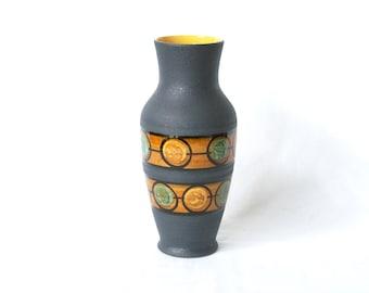 WEST GERMAN POTTERY Vase, Dümler and Breiden, 118 30, D & B, Black, Orange and Turquoise, Made in Germany, German Mid Century Modern