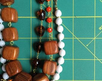 Wood + White Vintage Multi Strand Necklace