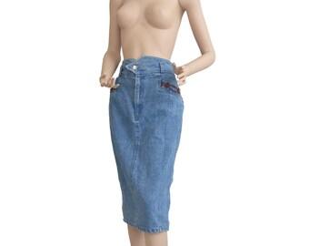 Light Blue 80s High Waist Denim Midi Skirt Size L A R G E