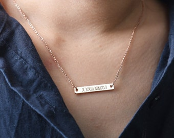 Roman Numeral Necklace,Wedding Date Necklace,Bridesmaid Gift,Bar Necklace,Personalized Necklace,Coordinates Necklace,Bridesmaid Necklace
