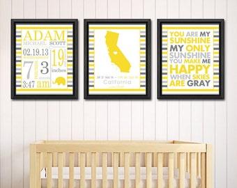 neutral baby room decor, subway art birth announcement, personalized baby gifts, birth stats wall art, baby nursery art, custom birth print