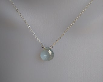 Genuine Aquamarine Pendant Necklace, Sterling Silver Chain, Gemstone Choker necklace, Gift Ideas. Christmas,Valentine's Day, Mother's Day
