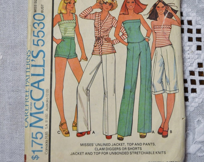 McCalls Sewing Pattern 5530 Misses Unlined Jacket Top Pants Clam Diggers Size 12 Womens Fashion Clothing DIY  PanchosPorch