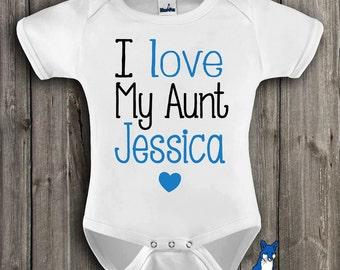 Personalized baby gift,Aunt baby clothing,I love my Aunt,baby clothes,cute baby bodysuit, baby boy clothes,baby girl, Blue Fox Apparel,266