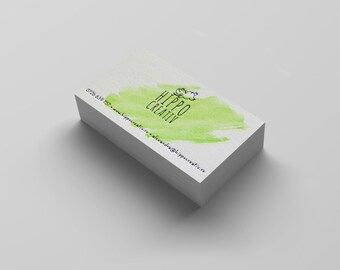 100 Hand Painted Custom Letterpress Business Cards - watercolor