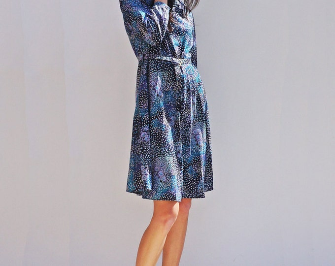 Boho Floral Dress, Vintage 80s High Neck Smock Dress, Long Sleeve Dress, Midi Dress, Summer Dress, Blue Floral Dress, 80s Secretary Dress