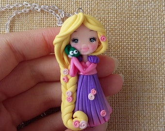Rapunzel tangled, necklace, disney princess, fanart, handmade, bronze, polymer clay