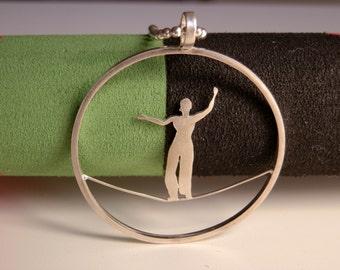 Slackline pendant silver. Circus jewelry