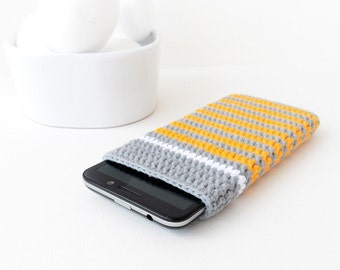 Grey Lumia 640 cover, Yellow stripes Samsung Galaxy S7 sleeve, grey LG G2 cozy, Nexus 5 pouch, crochet BlackBerry Z3 bag, Moto X2 phone case