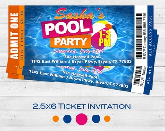 Pool Party Ticket Invitation