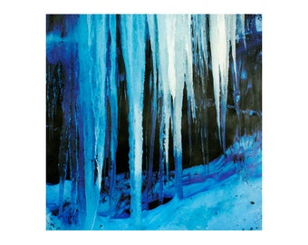 Winter photography print, wall art print, blue abstract art print, icicle photography, ice art, 8x8, 10x10, 12x12 fine art photography