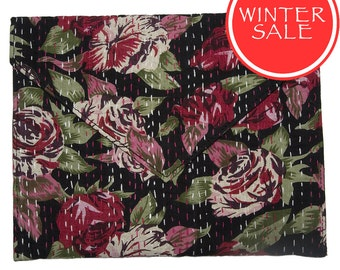 WINTER SALE - Tablet Sleeve / Clutch Bag - Red Rose Flower Pattern with Black Background