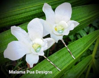 BRIDAL HAIR FLOWERS - Pair Ivory Dendrobium Orchids, Beach Wedding Hair Pins, Tiffany color pearls, Headpiece, Bridal, Silk flower hair pin