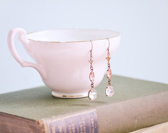 bridal earrings, blush earrings, long earrings, pink earrings, art deco earrings, rhinestone earrings  - EVANGELINE