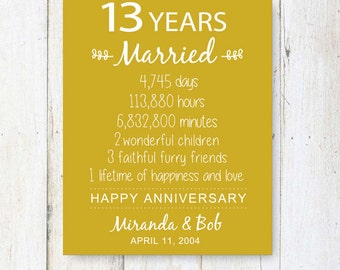 13th Anniversary Gift - 13 years of Wedding Anniversary - Personalized ...