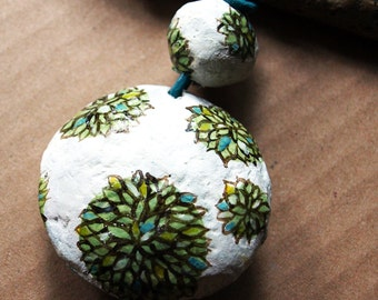 Pendant Little Islands of Green with leather cord  | Handmade paper mache beads