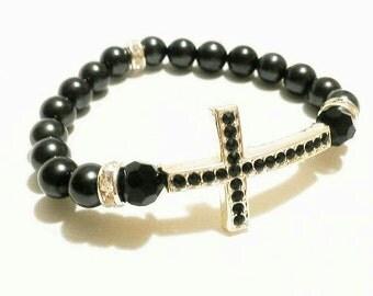 Sideways Cross Bracelet / Pulsera Perla / Cross Bracelet  / Rhinestone Cross Bracelet / Black Pearl Cross Bracelet / Gifts Under 15