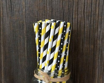 100 Black and Yellow Stripe and Polka Dot Paper Straws, Bee Themed Party, Picnic Supply, Free Shipping!