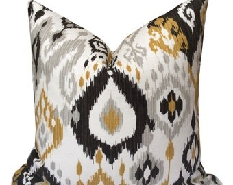 Gray/Grey, black, gold ikat pillow cover, home decor, decorative pillow