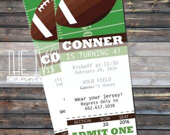 INVITATION Football Party Ticket Invitation, Football Birthday Invitation, Ticket Invitation