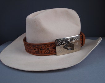 Leather hat band - vintage hatband - southwest - tooled leather - hat band - cowboy - leather belt - embossed hatband - cowgirl - equestrian