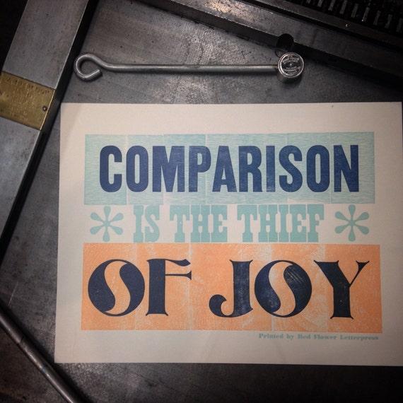 Comparison is the Thief of Joy Letterpress Print