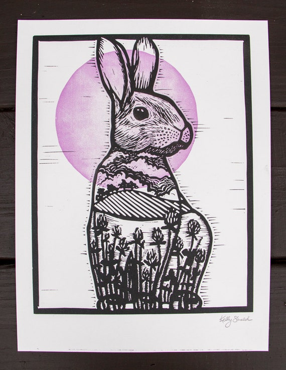 Cottontail Rabbit Hand Carved Linocut Print