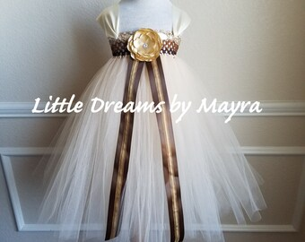 Brown and beige flower girl tutu dress and matching hairpiece size nb to 4T