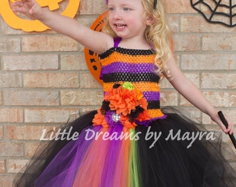 Halloween Witch costume, Glamorous Witch tutu dress, Halloween princess gown size nb to 10years