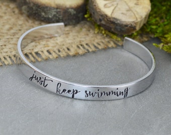 Just Keep Swimming Aluminum Brass or Copper Bracelet