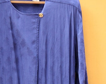 Blue Vintage Silk Dress by Liz Claiborne *FREE SHIPPING* //Cute Retro 1990s Blue Womens Dress Pockets Casual Belted 100% Silk