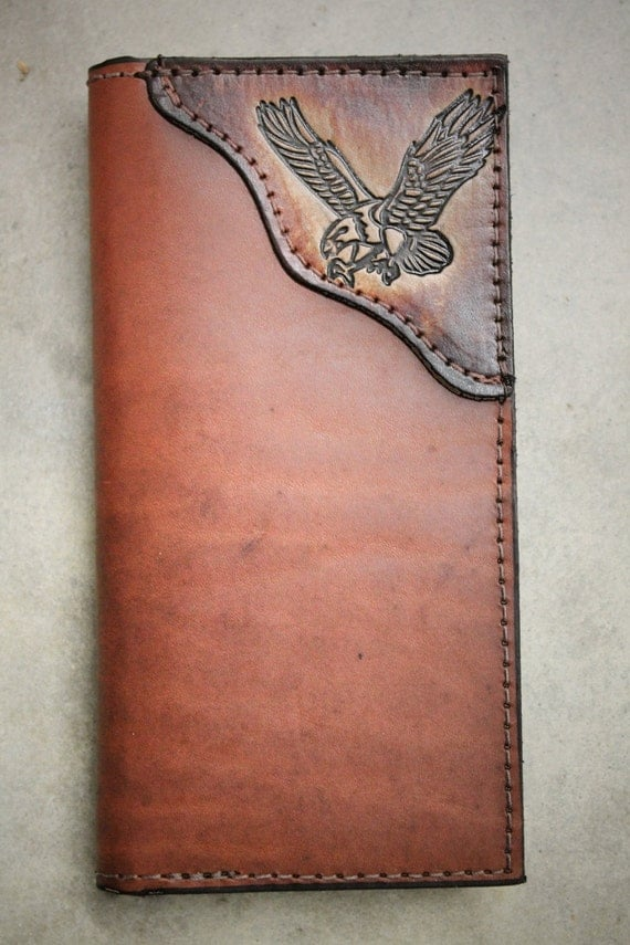 handmade leather wallets usa eagle checkbook wallet handmade leather by millersleathershop 9131