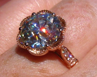 10mm Old European Cut (OEC) Moissanite in PEONY Rose Gold Engagement Ring, Moissanite Engagement Ring, Floral Ring